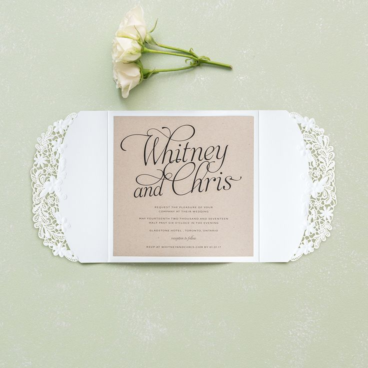 Embossed Floral Elegance with Rustic Elegance Personalization - Invitation SAMPLE