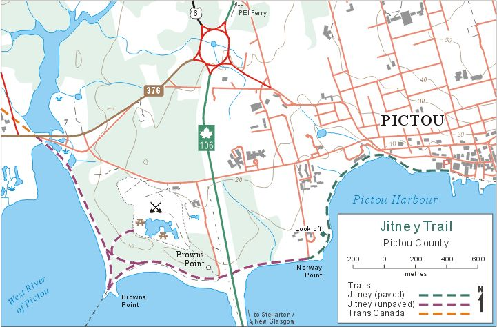 Map of: Jitney Walking Trail along the waterfront in Pictou