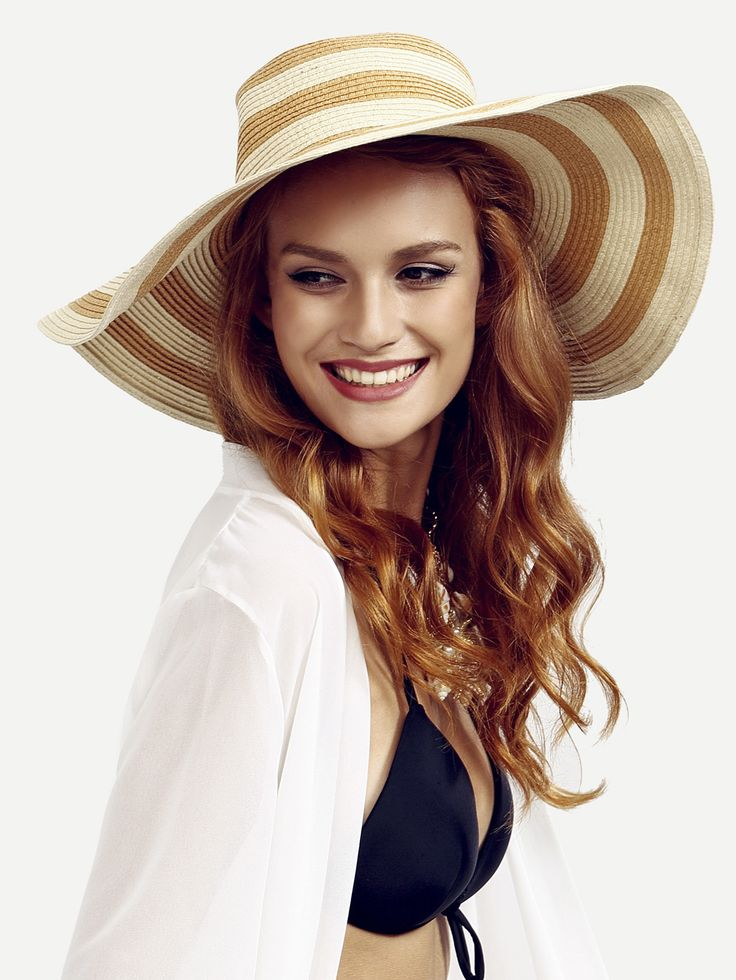 Shop Khaki Striped Large Brimmed Straw Hat online. SheIn offers Khaki Striped Large Brimmed Straw Hat & more to fit your fashionable needs.