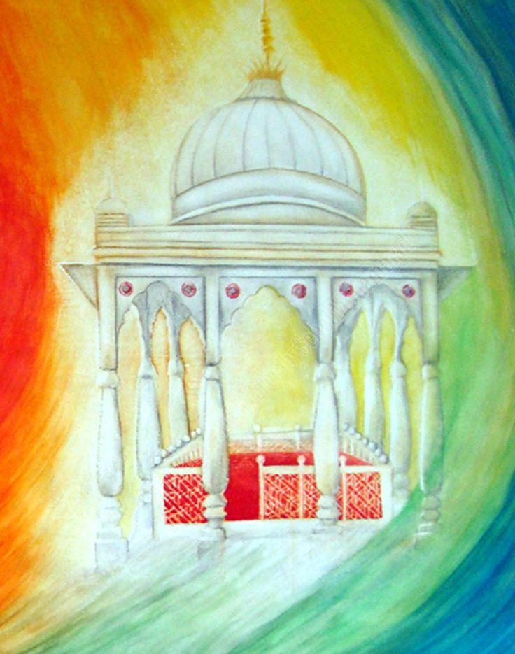 "Painting: Sufi Mendicant The Beggar of a Spiritual Master (Faqeer-e-Murshad) From Series,""Sufi Path"" The section where i manifested a little reflection of shrine of Great Sufi and Spiritual Master Hazrat Qutub-Ud-Din Baikhtiyar Kaki""Q.S.A"" From Markaz-e-Tasawwaf.Mehruali,Dehli India..."
