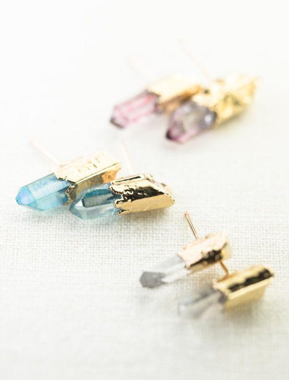 Keilani earrings  aqua quartz point stud earring by kealohajewelry                                                                                                                                                                                 More