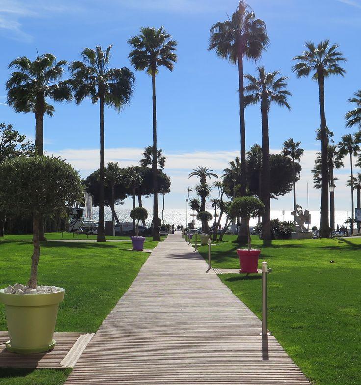 Les jardins du Grand Hôtel, Cannes s'ouvrent sur la Croisette ; et puis, la mer...