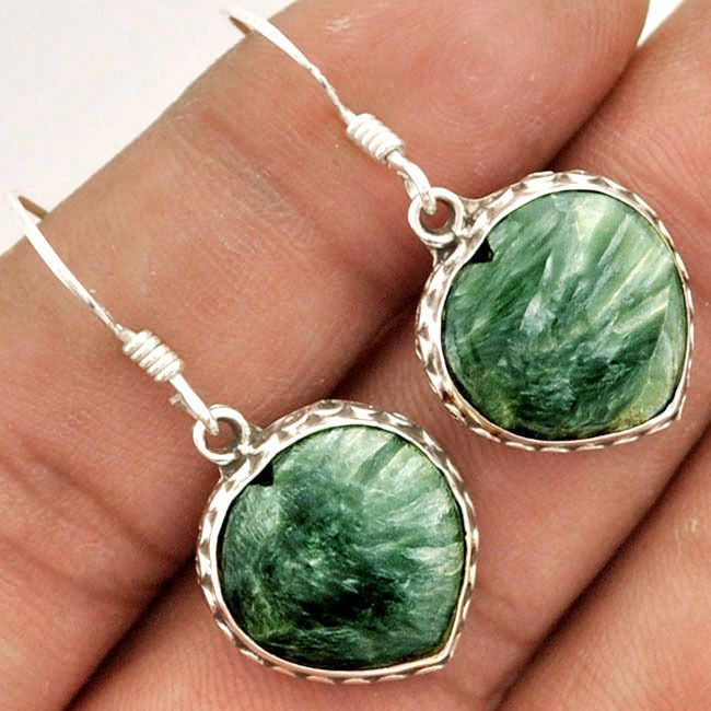 9.80cts NATURAL GREEN SERAPHINITE .925 STERLING SILVER DANGLE EARRINGS D3775 #jewelexi #DropDangle