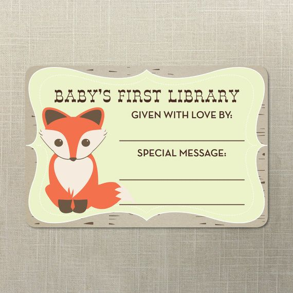 Baby's First Library Book Plate. Baby Fox. Baby Shower Book Idea. Instead of a Card.