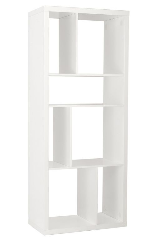 Euro Style Reid Shelving Unit/Media Stand in White Lacquer