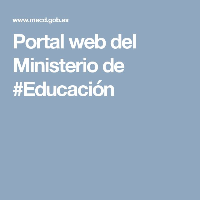 Portal web del Ministerio de #Educación