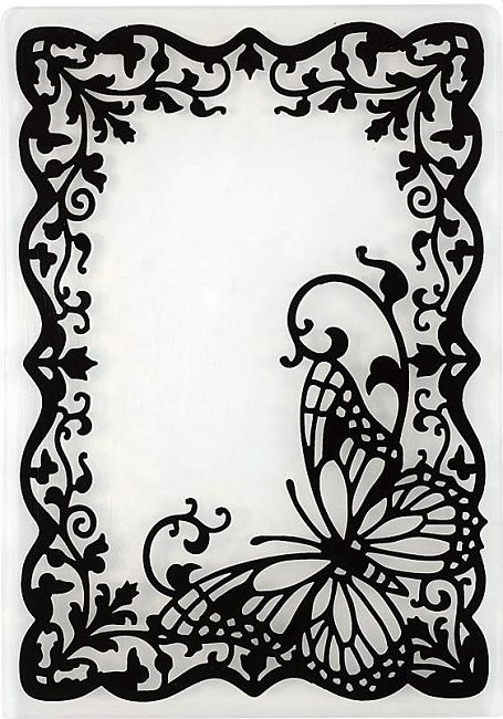 hot off the press embossing folder butterfly frame749