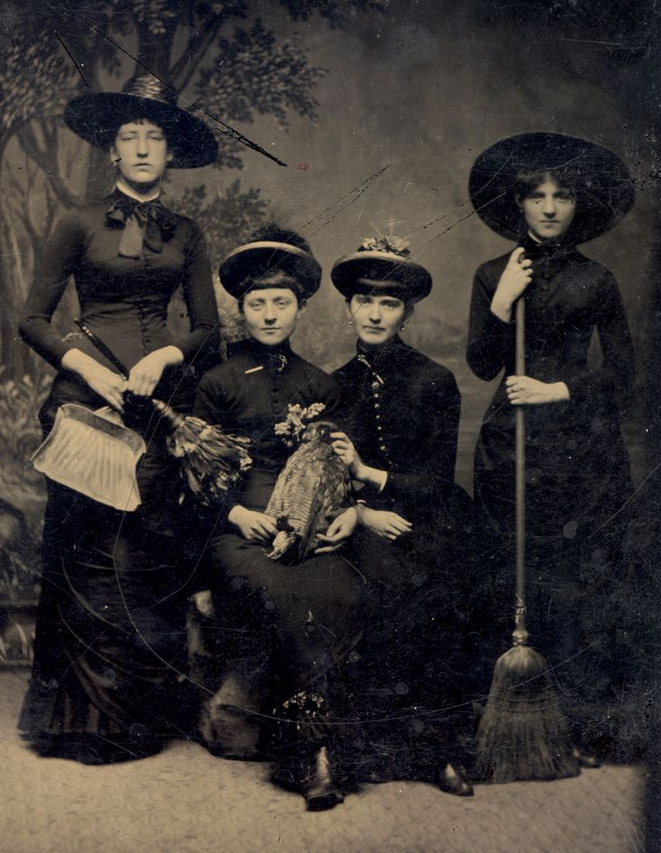 Since the first woman holds a dustpan and brush it seems likely that the fourth woman is holding a broom for cleaning purposes. But, if so, WTF is going on with the dead bird?! It is all very confusing. (To say nothing of the fact that if these girls could step out of this tintype would look perfectly at home at a goth bar. In fact they would knock the torn fishnets off some of the competition.):