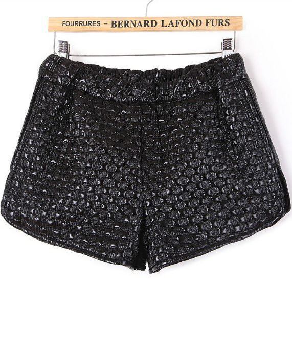 Black Elastic Waist Contrast PU Leather Plaid Shorts - Sheinside.com