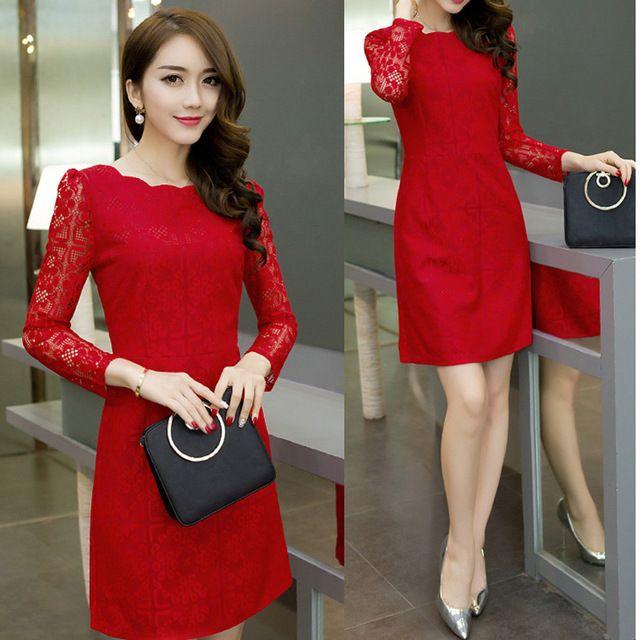 Дамы Элегантный красный белый черный осень dress женская Одежда офис кружева bodycon бальные платья плюс размер dress Женщины повседневная vestidos