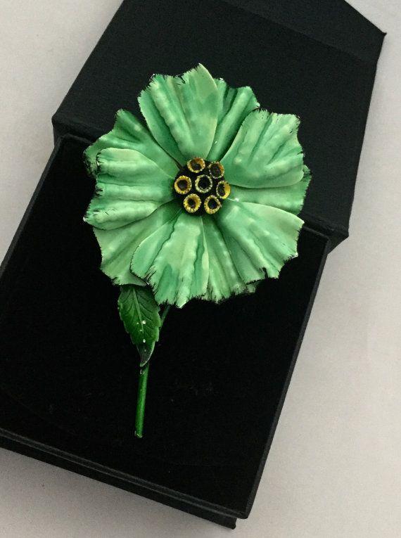 jaren 1960 emaille bloem broche