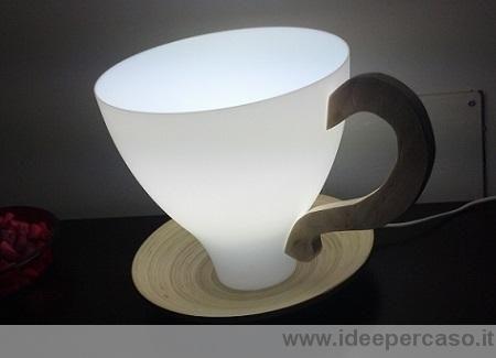 Lampada tazza costruita con un paralume ikea dedicata al blog.casase.it