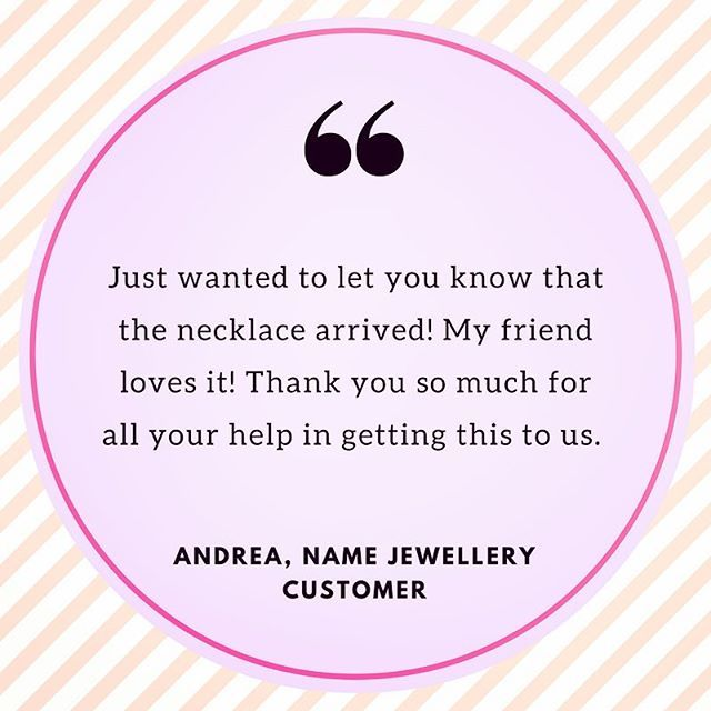 We love hearing from our customers 😍 it's always nice to help people create gifts that put a smile on others faces 🎁😃 a custom piece of #namejewellery makes the perfect gift of friendship 👯 #friendshipgoals #giftoflove #happycustomer #review #productreview #perfectgift
