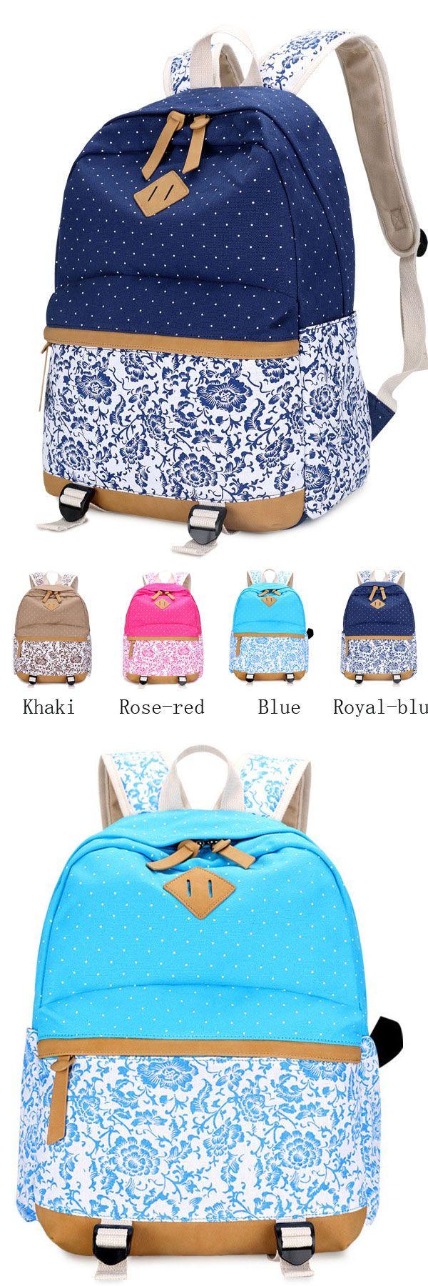 Vintage Fresh Floral Polka Dot Canvas Travel Backpack Leisure Backpack&Schoolbag
