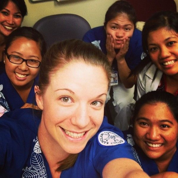 """Amy explains her photo with a short caption and a long list of hashtags: """"Last day of clinicals at TAMC for Pediatrics!! Bittersweet!"""" #Nurse #Friends #TAMC"""