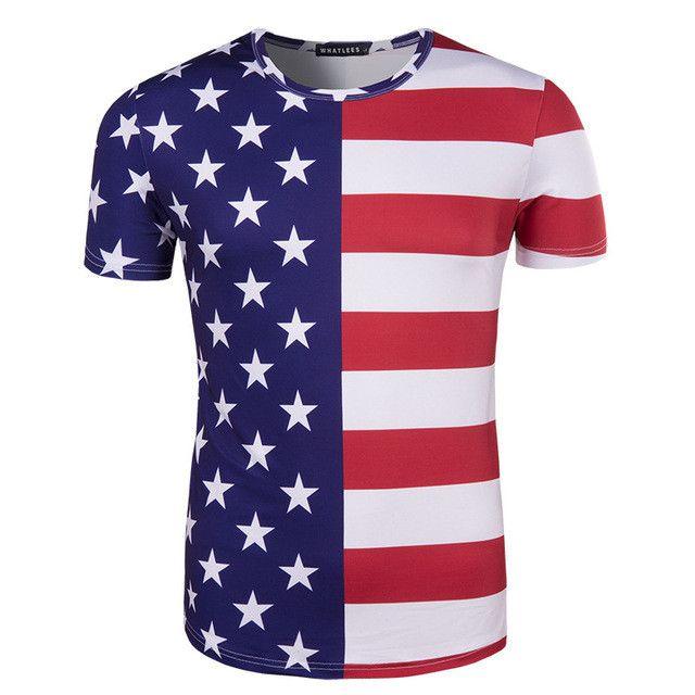 Nouveau 2017 hommes d'été slim casual T-shirt En Trois  Dimensions style Étoiles et rayures imprimer motif hommes à  manches ...