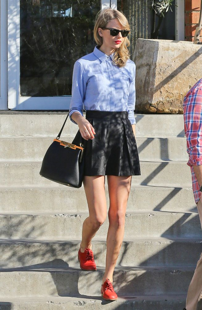 just another day :: light blue button down, black mini flowy skirt, red oxford shoes, black purse