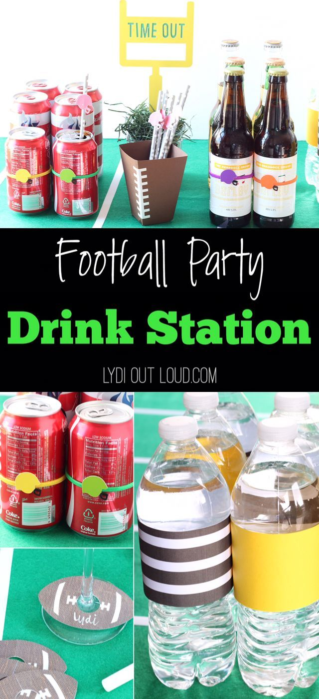 DIY Football Drink Station | Such fun football party ideas! #superbowlfood
