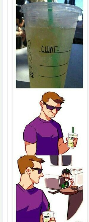 Loki disguised as a Starbucks employee and misspelling Hawkeye ' s real name.<--I can't stop laughing