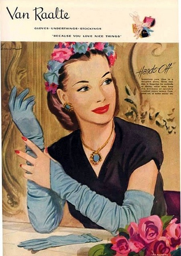 1945 Van Raalte Ad by myvintagevogue: Gloves Hats, Hats Vintage, Magazines Ads, Gloves Ads, Advertising Vintage, Lingerie Ads, Fashion Ads, Antiques Gloves, 1945 Vans