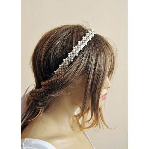 Wedding hair accessories Rhinestone and Pearl headband by selenayy ($49) found on Polyvore