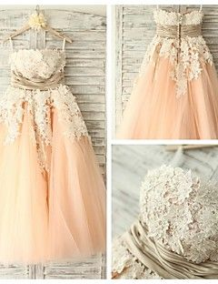 Cocktail Party Dress - Watermelon A-line Strapless Tea-length Lace / Tulle