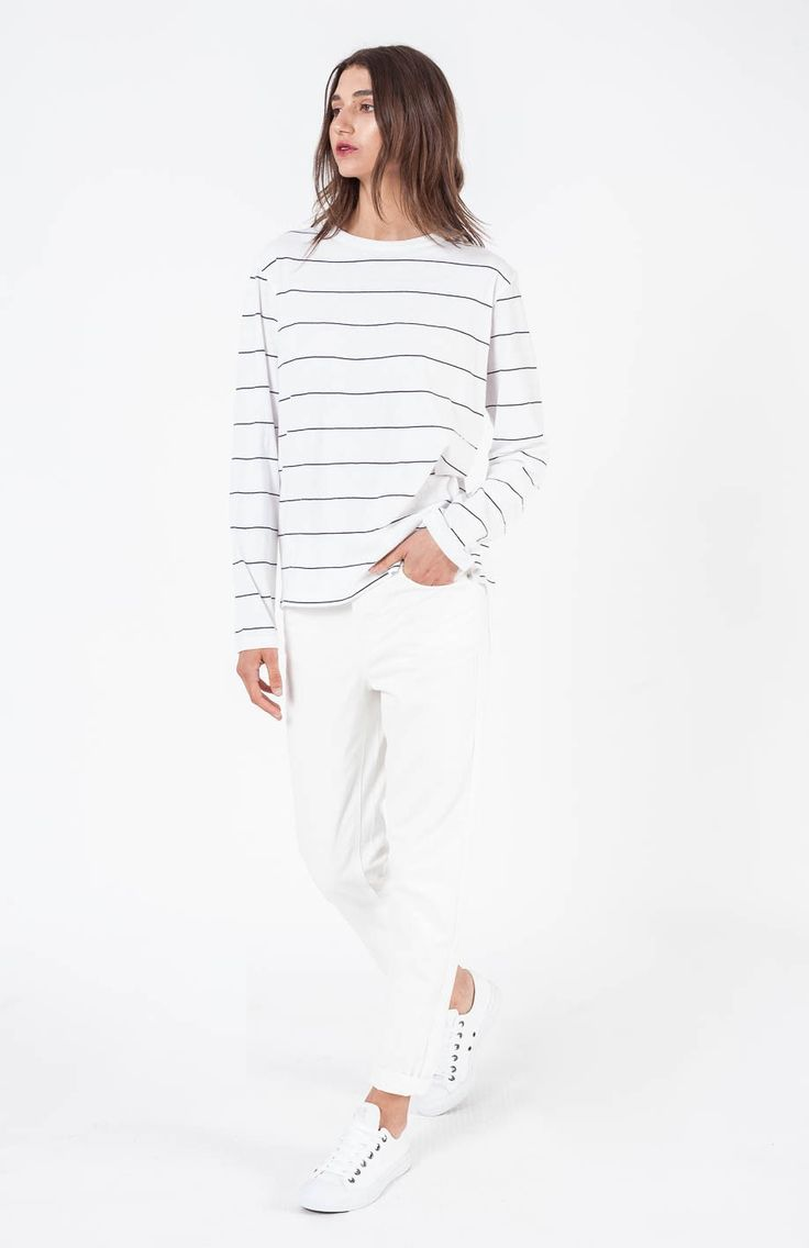 Assembly Label - Apollo Stripe L/S Tee- Linen Blend White/Navy