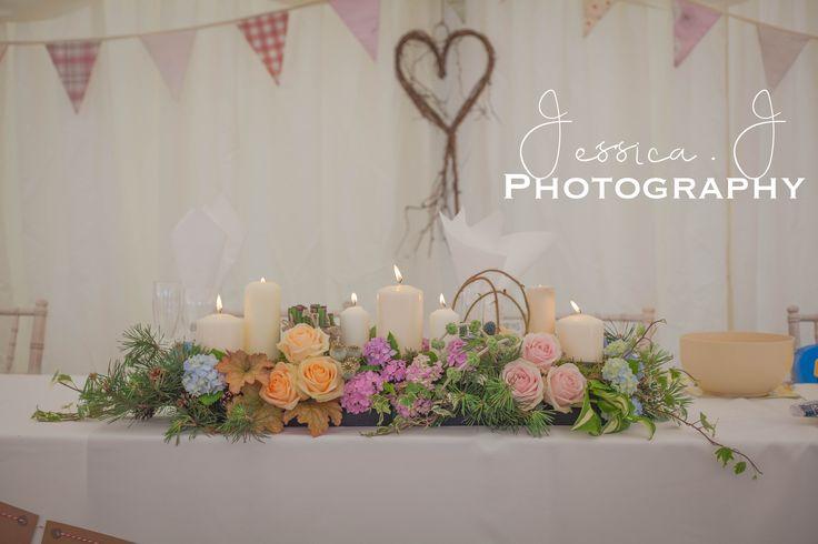 Top Table Flowers #wedding #yorkshirewedding #marqueewedding #bunting #wedding #weddingflowers #toptable #decoration