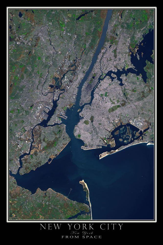 New York City From Space Satellite Poster Map  Beautiful