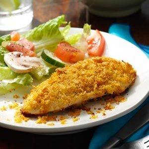 Breaded Ranch Chicken Recipe from Taste of Home | A coating containing cornflakes, Parmesan cheese and ranch dressing mix adds delectable flavor to the chicken pieces in this recipe and bakes to a pretty golden color.