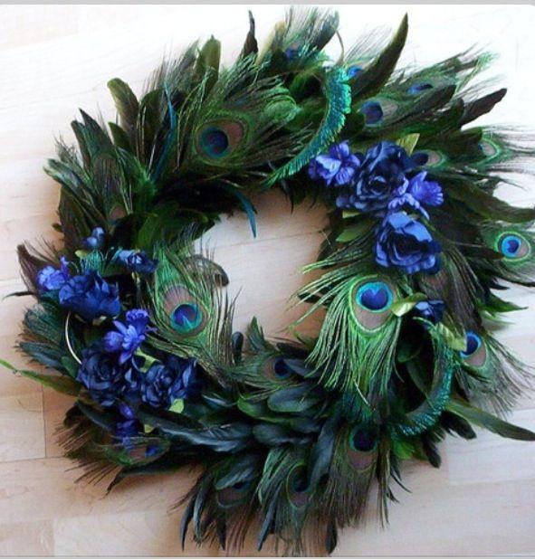 Best peacock wreath ideas on pinterest