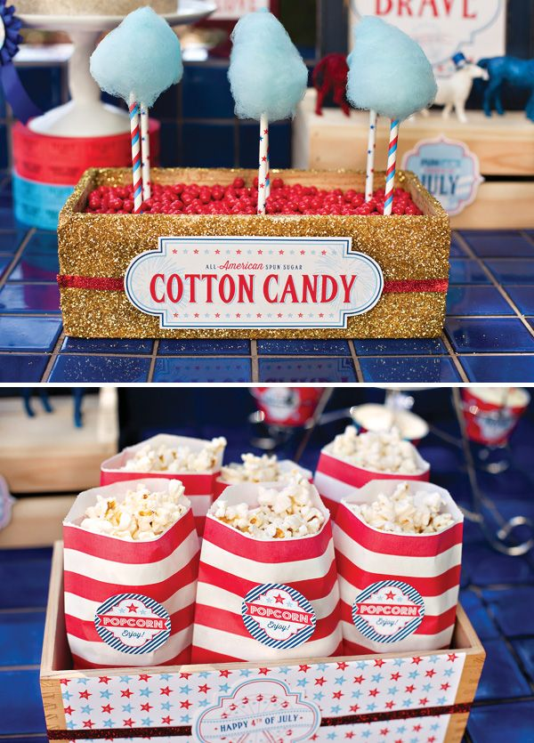 loving the blue cotton candy on white and red striped straws - could just do white candy on blue and red striped, too.  LOVE the glittery box too!!