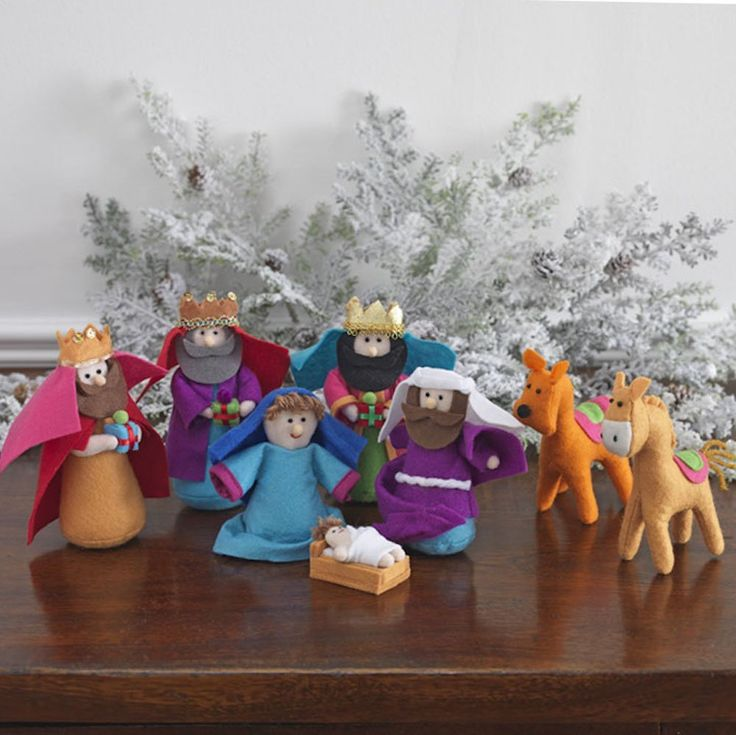 Amazon.com: 8-piece Set, Fabric Christmas Nativity Set with Wise Men & Animals, 6 Inches Tall: Home & Kitchen