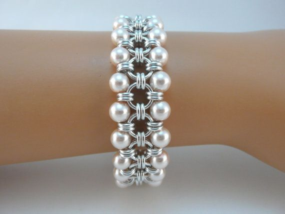 Japanese chainmaille bracelet with blush pink glass pearls, Chainmail bracelet, Chain mail bracelet