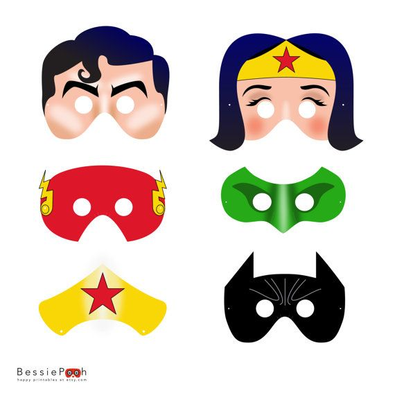 Printable JUSTICE LEAGUE masks. Instant download PDF file.