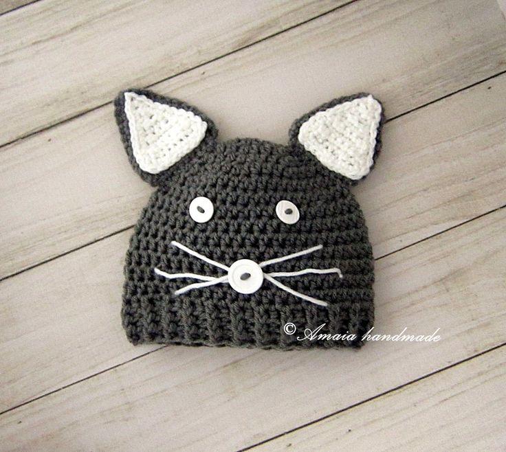 Crochet baby hat, Baby cat hat, newborn cat hat, baby animal hat, newborn animal hat, baby cat outfit, crochet cat hat, halloween costume by Amaiahandmade on Etsy