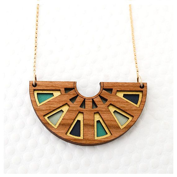 Azteca Half Circle Necklace in Cherry Wood / Teal / Navy / Gold – Modern Minimalist Geometric Jewelry for Women
