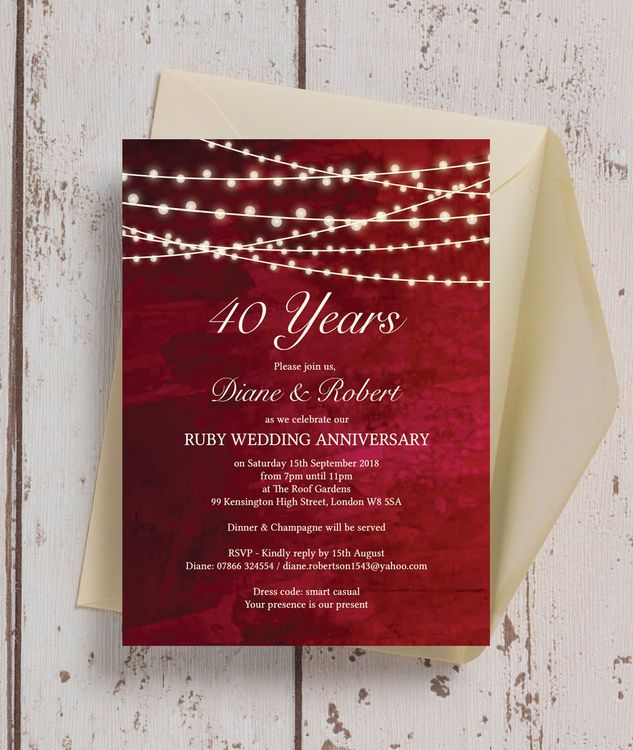 33 best wedding anniversary personalised invitations images on red fairy lights 40th ruby wedding anniversary invitation stopboris Image collections