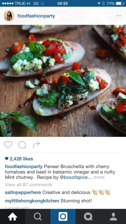 ... than tomatoes forward paneer bruschetta w mint chutney tomato basil