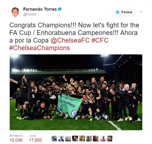 Atlético Madrid striker Fernando Torres has sparked wrath among Liverpool fans for congratulating Chelsea on their Premier League title win