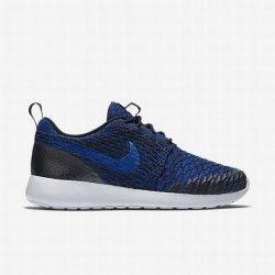 fe94dd12ba704 Nike Women s Dark Obsidian Deep Royal Blue Pure Platinum Racer Blue Roshe  Flyknit