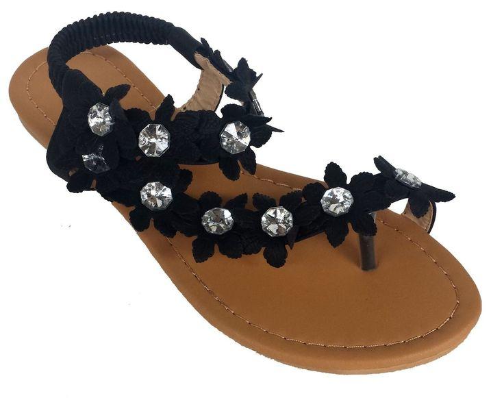 Elegant Women's Fashion Black Hawaiian Flowers Gladiator Flat Sandals Black 9 , M US. Women's Gladiator Sandals. Beautiful Hawaiian Flowers. Decorated with Rhinstones.