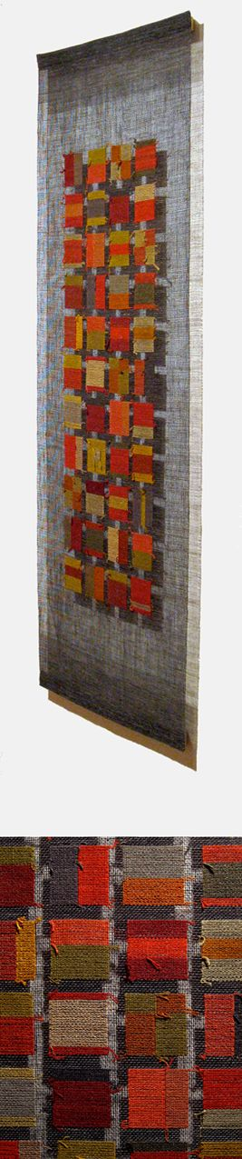 """idea for mounting small zoom loom weavings: Tapestry on gauze; silk linen - """"Runner/Colors"""" by Morgan Clifford"""