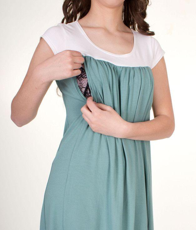 Stillmode - Umstands-& Stillkleid Luzia off-white/mintgrün - ein Designerstück von Milchshake-by-AgnesH- bei DaWanda