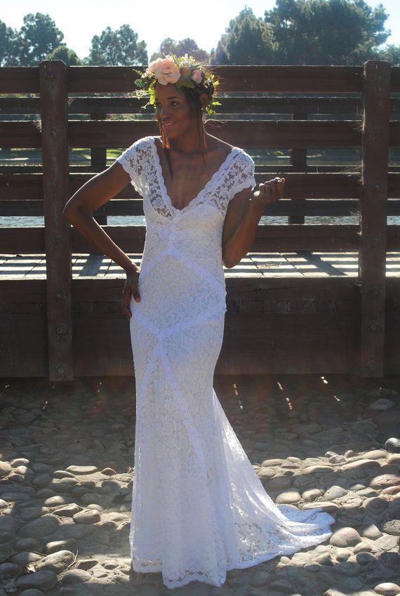 Bohemian Wedding Dress Stretch Lace Gown With Train Panelled Patchwork Construction Ivory Or White Short Sleeves Cloth Pinterest