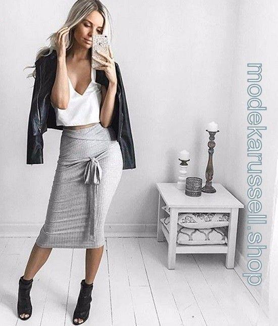 Bleistift Rock in Grau frauen #women #fashion #mode #damenmode #damenmode 2019 – –  –