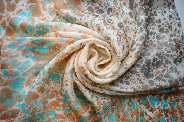 """Hand-Painted Square Silk Scarf from collection """"We are animals"""".  Unique Marbled Silk Scarf in Ebru technique.  100% hand painting.Handmade with care and love! This scarf was hand painted with..."""