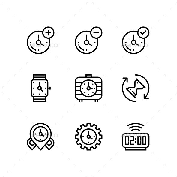 Set of Time, Clock, Watch, Timer Vector Outline #Icons for Web and Mobile Design…