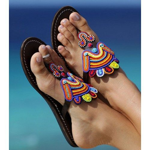 african  leather beaded sandal 5