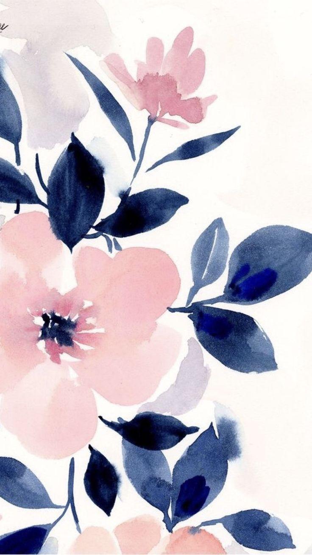 Pienk En Blou Blomdruk Muurpapier Floral Wallpaper Iphone Floral Wallpaper Flower Wallpaper